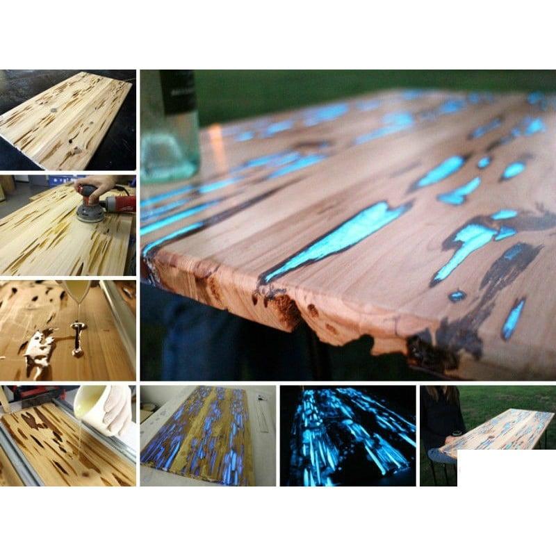 Te gustaría probar con resina y pigmento para rellenar grietas de mesa de madera