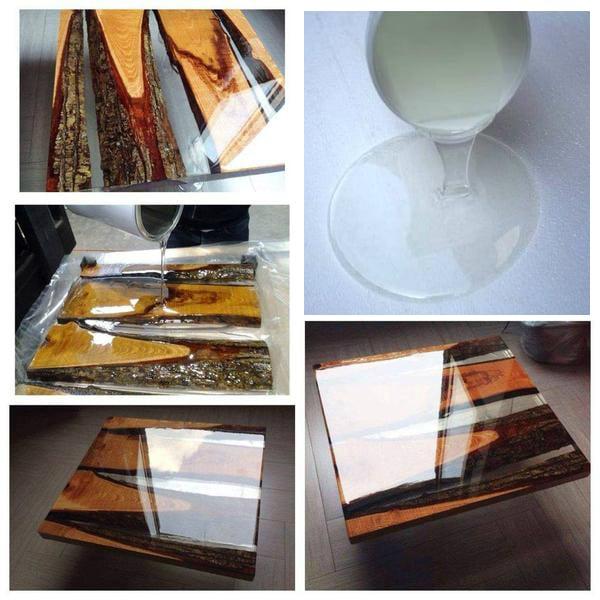 Cómo construir una mesa de madera y resina.